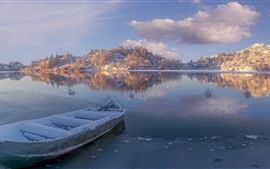 Preview wallpaper Norway, Rogaland, river, snow, boat, mountains, winter