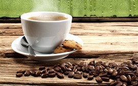 Preview wallpaper One cup coffee, cookies, coffee beans, window