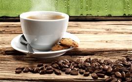 미리보기 배경 화면 커피 한잔, 쿠키, 커피 원두, 창문