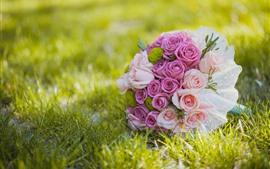 Roses roses, fleurs, herbe, bouquet