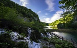 Parque Nacional dos Lagos Plitvice, Croácia, lago, riacho, montanha, árvores