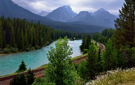 Preview wallpaper Railroad, trees, river, mountains, Canada