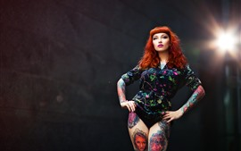Red hair girl, tattoo, pose, lights