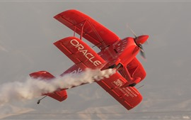 Preview wallpaper Red plane, aircraft, smoke