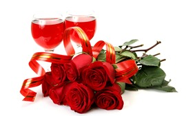 Preview wallpaper Red roses, wine, glass cup, white background