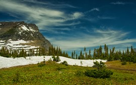 Preview wallpaper Rocky mountains, Glacier National Park, trees, snow