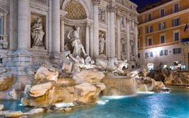 Preview wallpaper Rome, fountain, water, statue, night, Italy