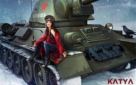 Chica rusa, tanque, nieve, invierno, cuadro de arte.