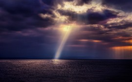 Preview wallpaper Sea, boat, sun rays, clouds, dusk