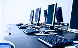 Some computers, monitor, keyboard