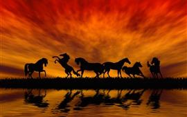 预览壁纸 一些马匹,剪影,草,河,水,日落,红色的天空