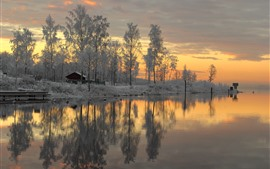 Sweden, snow, trees, sunset, river, winter
