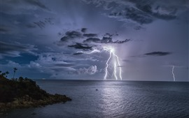 Thailand, storm, lightning, sea, night, clouds