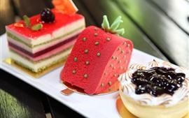 壁紙のプレビュー 3種類のケーキ、デザート