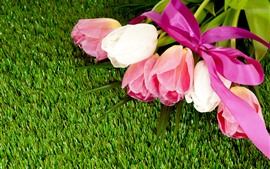 Tulipes, bouquet, herbe, prairie