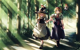 Preview wallpaper Two anime girls, walking, trees, path, sun rays