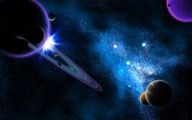 Preview wallpaper Universe, space, planets, stars, creative design