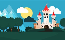 Preview wallpaper Vector picture, castle, trees
