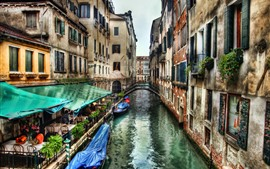 Preview wallpaper Venice, Italy, river, cafe, bridge, boats, houses