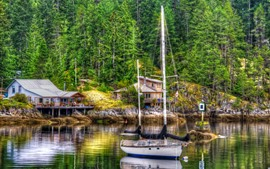Preview wallpaper Yacht, trees, house, lake, HDR style