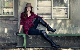 Preview wallpaper Young girl, hat, pose, boots, bench, window