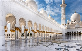 Abu Dhabi, white Mosque, buildings