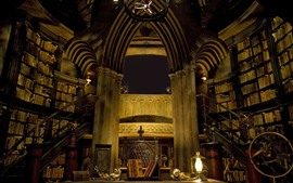 Preview wallpaper Castle inside, library, books