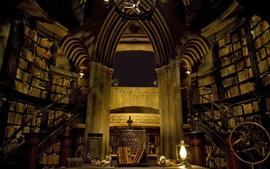 預覽桌布 城堡內,圖書館,書籍