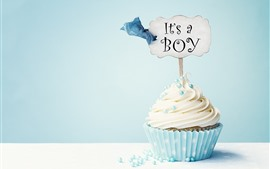 壁紙のプレビュー カップケーキ、クリーム、碑文、青い背景