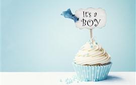 Cupcake, cream, inscription, blue background