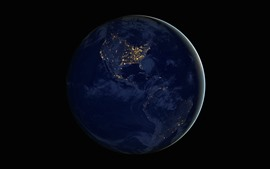 Preview wallpaper Earth, planet, continents, night, lights