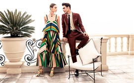 Preview wallpaper Fashion girl and man, chair