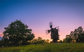 Preview wallpaper Finland, windmill, trees, grass, sunset