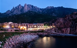 Preview wallpaper France, Corsica, houses, lights, night, sea