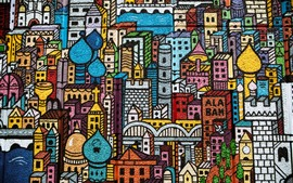 Preview wallpaper Graffiti, wall, city, buildings, painting, colorful