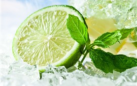 Preview wallpaper Green lemon, ice cubes, mint leaves