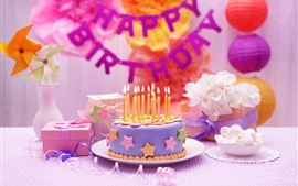Preview wallpaper Happy Birthday, cake, candle, gift, windmill