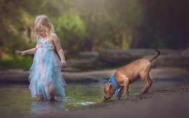 Preview wallpaper Happy little girl, child, dog, play water