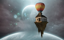 Hot air balloon, house flight, planets, creative picture