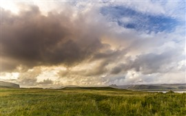 Iceland, grass, clouds, sky