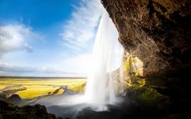 Исландия, водопад, Сельяландсфосс, облака, небо