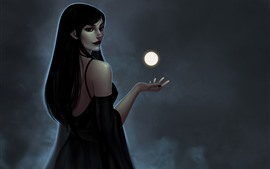 Preview wallpaper Long hair girl look back, fantasy, moon, magic