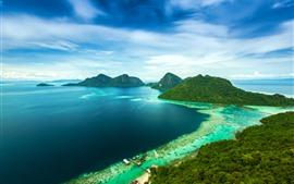 Malásia, montanhas, ilha, mar, costa, cais