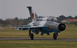 Preview wallpaper MiG-21 fighter, airplane, airport