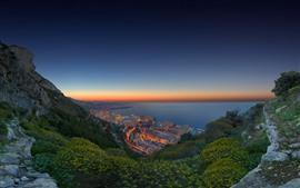 壁紙のプレビュー モナコ、海岸、海、都市、夜、ライト、山