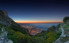 Preview wallpaper Monaco, coast, sea, city, night, lights, mountains