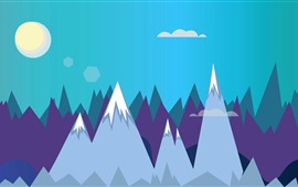 Preview wallpaper Mountains, sun, vector picture