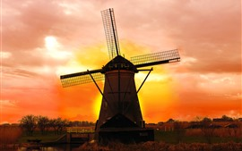 Netherlands, windmill, sunset, red sky