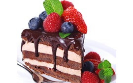 Preview wallpaper One slice cake, chocolate, strawberry, blueberry, white background