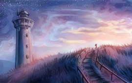 Preview wallpaper Painting, lighthouse, grass, girl, stars